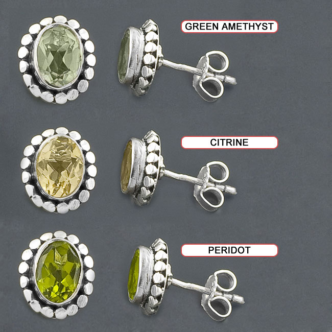 Sterling Silver Gemstone Stud Earrings (India)