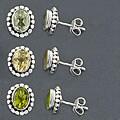 Sterling Silver Gemstone Stud Earrings (India)