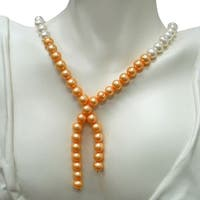 14k Gold White and Golden FW Pearl Necklace (9-10 mm)