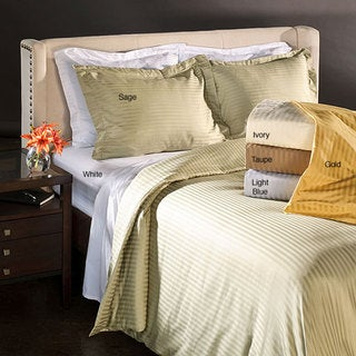 Superior Cotton Striped 1200 Thread Count 3-piece Duvet Cover Set