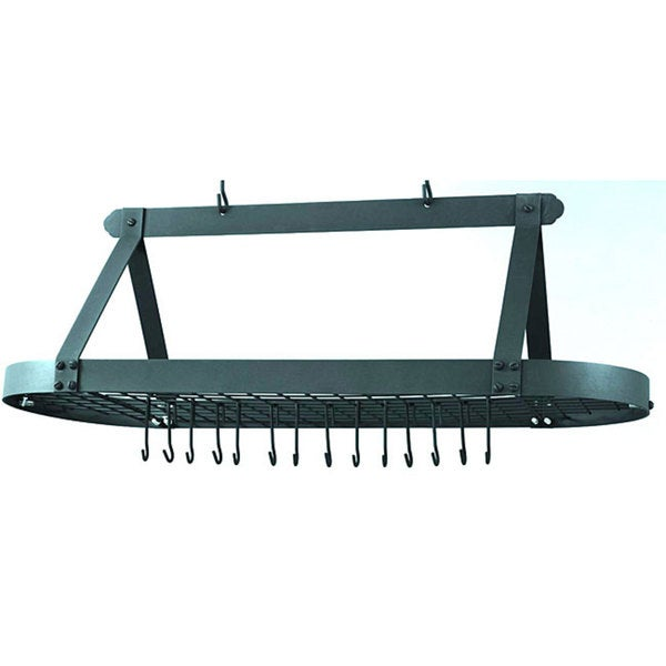 Graphite Oval Pot Rack with 24 Hooks
