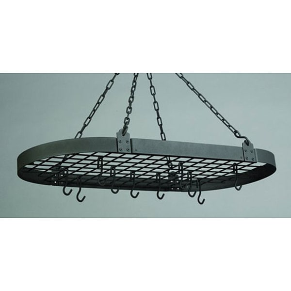 Old Dutch Medium Gauge Oval Pot Rack with Grid & 12 Hooks