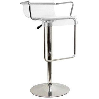 Stern Clear Acrylic Adjustable Chromed Barstool