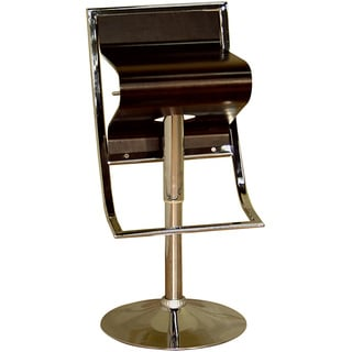 "Modern Brown 26-35"" Adjustable Bar Stool by Baxton Studio"