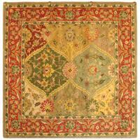 Safavieh Handmade Heritage Traditional Kerman Burgundy Wool Rug - 6' x 6' Square
