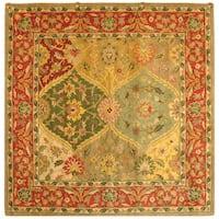 Safavieh Handmade Heritage Traditional Kerman Burgundy Wool Rug - 8' Square