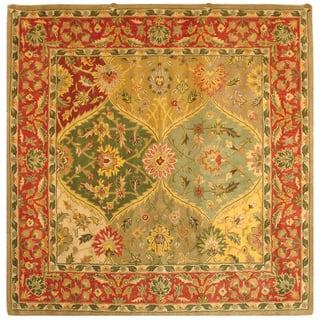 Safavieh Handmade Heritage Traditional Kerman Burgundy Wool Rug 8 Square