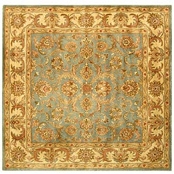 Safavieh Handmade Heritage Timeless Traditional Blue/ Beige Wool Rug (8' Square)