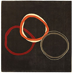Safavieh Handmade Soho Circles Modern Abstract Charcoal Grey Wool Rug (6' x 6' Square)