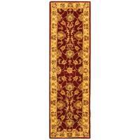 Safavieh Handmade Heritage Traditional Kerman Red/ Gold Wool Runner (2'3 x 4')