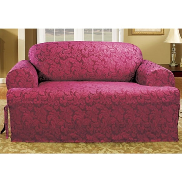 Sure Fit Scroll T-cushion Loveseat Slipcover