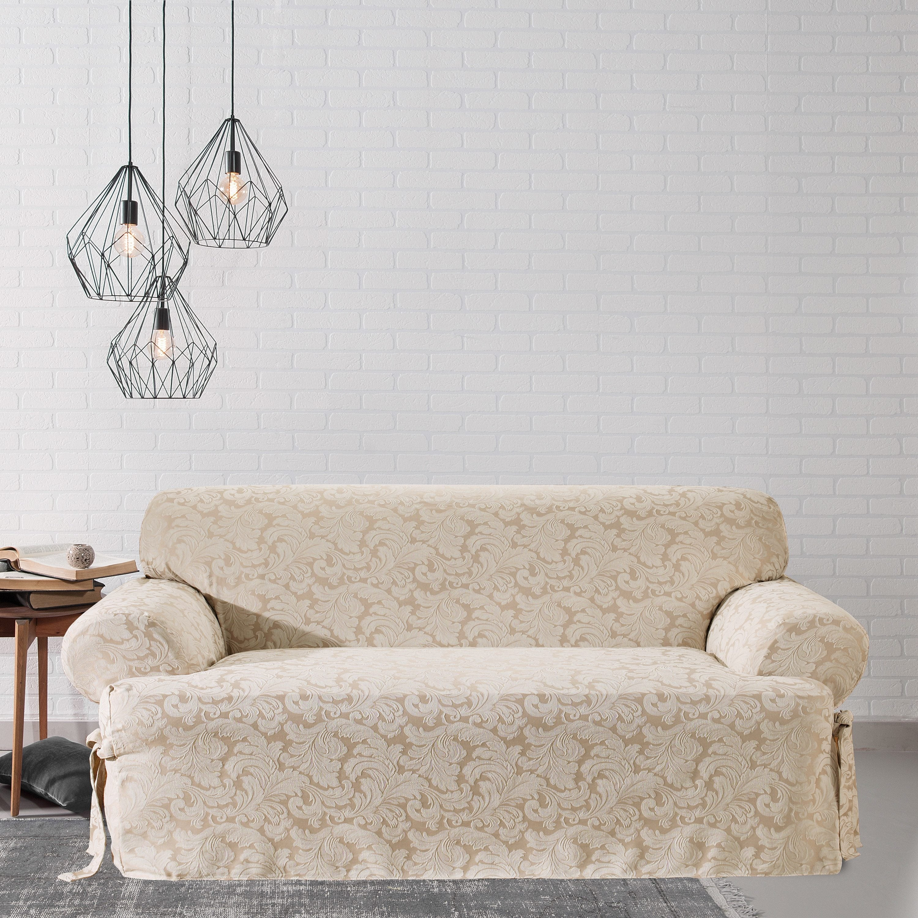 Scroll T cushion Sofa Slipcover