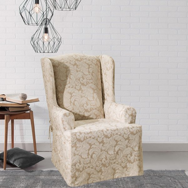 Scroll Wing Chair Slipcover   Free Shipping Today   Overstock.com   11886620