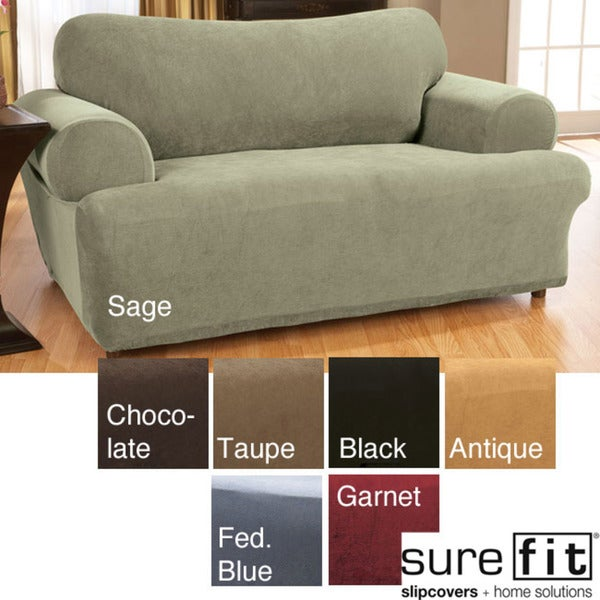 Sure Fit Stretch Waffle-texture T-cushion Loveseat Slipcover