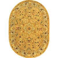 Safavieh Handmade Classic Heirloom Beige Wool Rug - 4'6' x 6'6 oval
