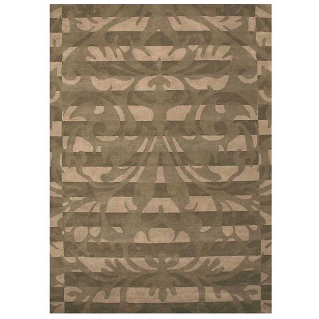 Damask Flatweave Rug: Hand-tufted Damask Green Wool Rug (5' X 8')