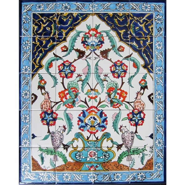 Floral arch blue pot 20 tile ceramic wall mural free for Ceramic wall mural