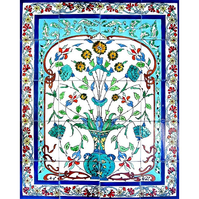 Blue turquoise pot 20 tile ceramic wall mural art free for Artwork on tile ceramic mural
