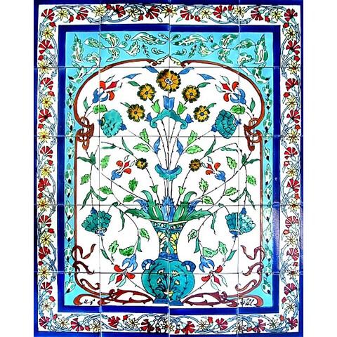 Blue Turquoise Pot 20-tile Ceramic Wall Mural Art