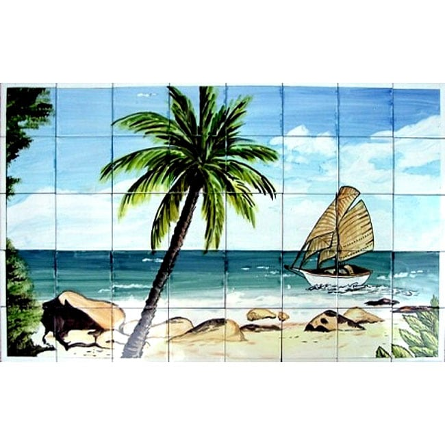 Mosaic 39 palm beach view 39 40 tile ceramic wall mural free shipping today 11887758 Home goods palm beach gardens