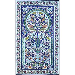 Arabesque Floral Pot 84-tile Ceramic Wall Mural