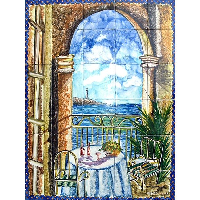 Mosaic 39 bay view 39 30 tile ceramic mural wall art free for Artwork on tile ceramic mural