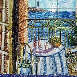 Mosaic 39 bay view 39 30 tile ceramic mural wall art free for Bay view wall mural