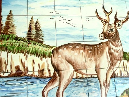 Thumbnail 2, Mosaic Deer Design 30-tile Ceramic Wall Mural. Changes active main hero.