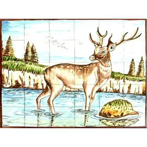 Mosaic Deer Design 30-tile Ceramic Wall Mural