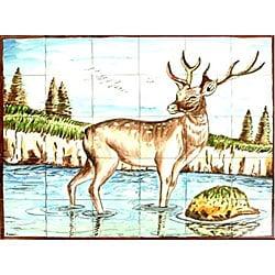 Thumbnail 1, Mosaic Deer Design 30-tile Ceramic Wall Mural.