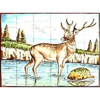 Mosaic Deer Design 30-tile Ceramic Wall Mural