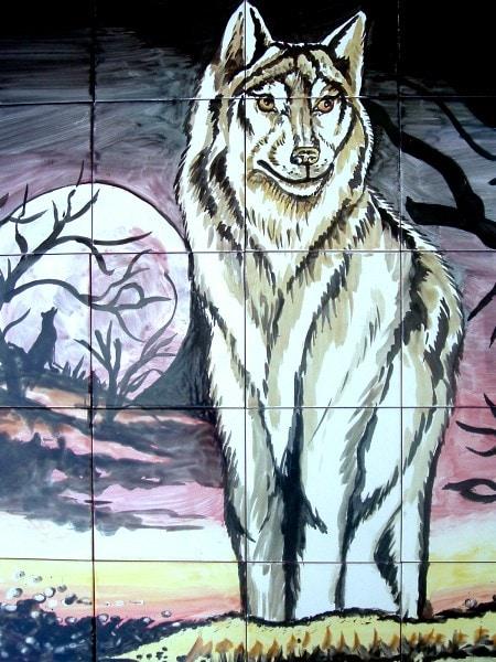 Shop Night Wolf Scene Mosaic 30 Tile Ceramic Wall Mural