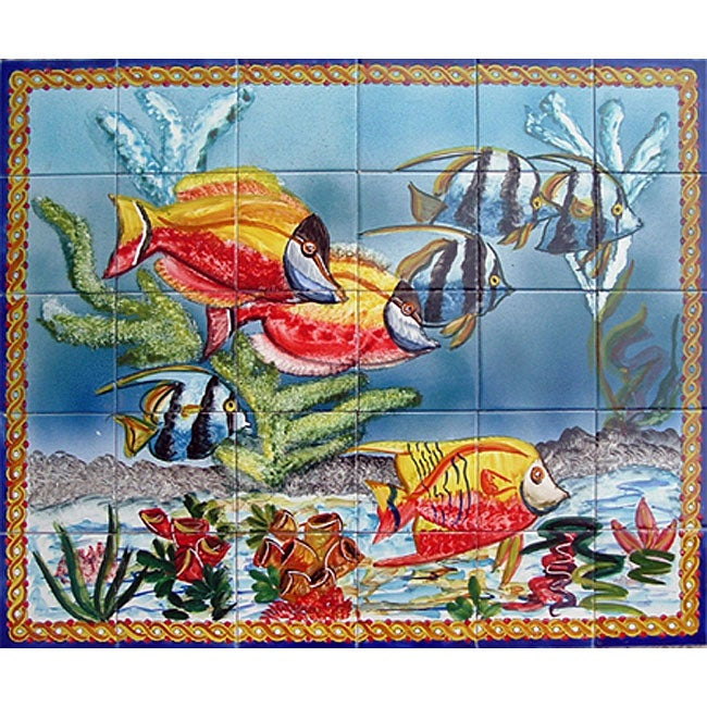 Bathroom Wall Decor Shower Backsplash Mosaic 'Aquarium Fish' 30 Tile Ceramic Mural