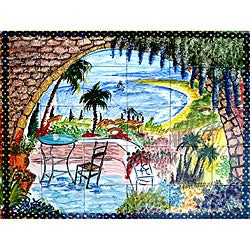 Mosaic 'Landscape View' 30-tile Ceramic Wall Mural