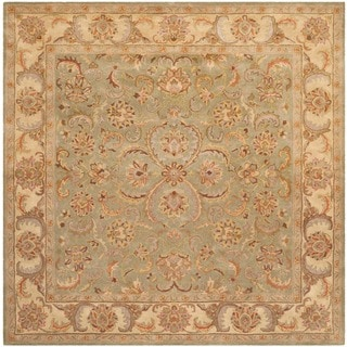 Safavieh Handmade Heritage Timeless Traditional Green/ Gold Wool Rug (6' Square)