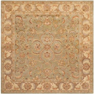 Safavieh Handmade Heritage Timeless Traditional Green/ Gold Wool Rug (8' Square)
