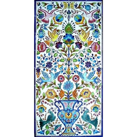 Mosaic 'Floral Birds' 32-tile Ceramic Wall Mural