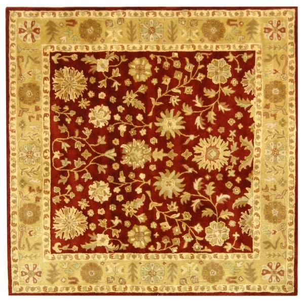 Safavieh Handmade Heritage Traditional Kashan Burgundy/ Beige Wool Rug (6' Square)