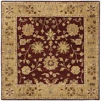 Safavieh Handmade Heritage Traditional Kashan Burgundy/ Beige Wool Rug - 8' x 8' Square
