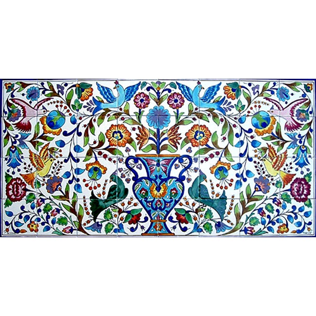 Mosaic 39 floral 39 32 tile ceramic wall mural free shipping for Ceramic wall mural