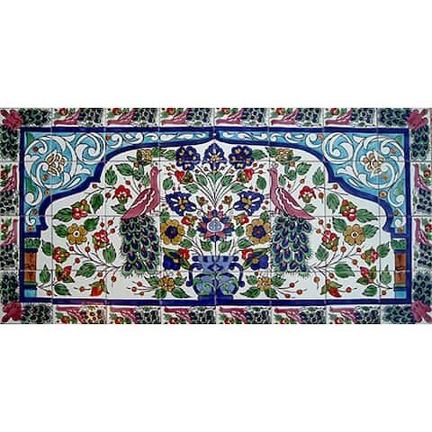 Mosaic 'Peacock' 32-tile Ceramic Wall Mural