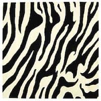 Safavieh Handmade Soho Zebra Wave White/ Black N. Z. Wool Rug - 6' x 6' Square