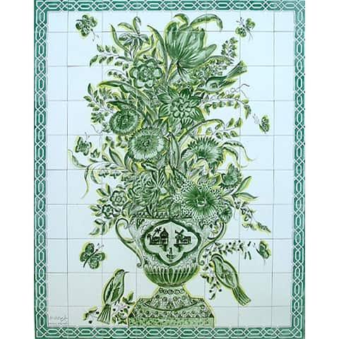 Mosaic 'Monochromic Green Design' 80-tile Ceramic Wall Mural