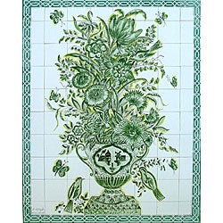 Mosaic 'Monochromic Green Design' 80-tile Ceramic Wall Mural