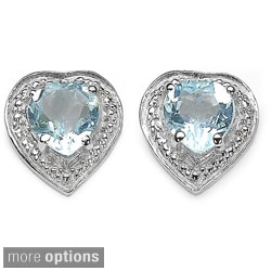 Malaika Sterling Silver Octagon Cut Gemstone Stud Earrings