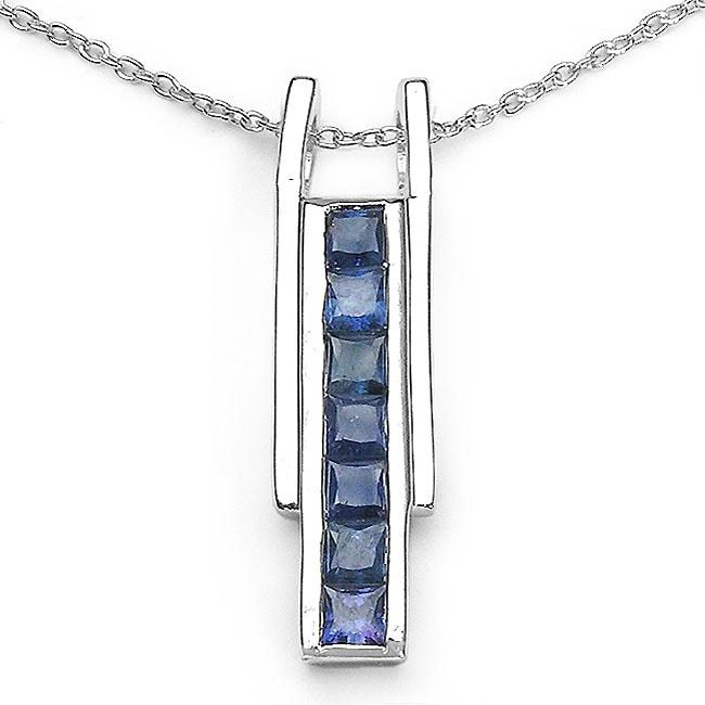 Malaika Sterling Silver Blue Sapphire Stick-style Necklace