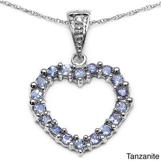 Malaika Sterling Silver Emerald or Tanzanite and Diamond Heart Necklace
