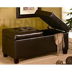 Dark Brown Tufted Storage Ottoman Bench