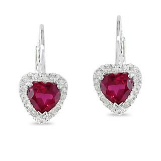 Miadora Silver 1/6ct TDW Created Ruby Heart Earrings