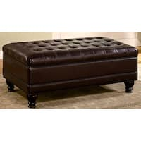 Royale Tufted Brown Bi-Cast Leather Ottoman Storage Bench